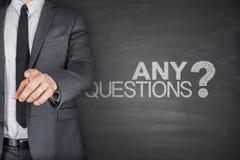 Algum conceito das perguntas no quadro-negro preto Fotografia de Stock