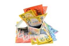 Alguma cédula australiana em uma caixa do metal Imagens de Stock Royalty Free