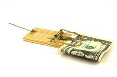 Dinheiro prendido em uma armadilha do rato imagens de stock royalty free