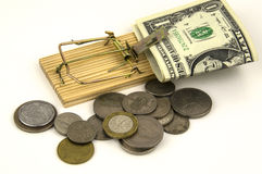 Dinheiro prendido em uma armadilha do rato foto de stock