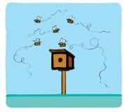 Algumas abelhas voam ao redor ilustração royalty free