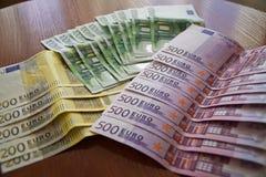 Algumas cédulas do Euro Foto de Stock