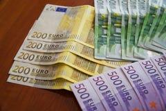 Algumas cédulas do Euro Fotografia de Stock