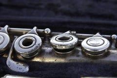 Algumas chaves velhas da flauta Imagens de Stock