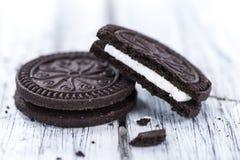 Algumas cookies do creme dobro Imagem de Stock