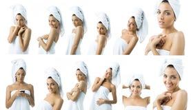 Algumas imagens de uma jovem mulher na toalha Imagens de Stock Royalty Free