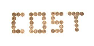 Algumas moedas como a palavra CUSTO Fotografia de Stock