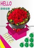 Alguna rosa roja y las bolas Fotos de archivo