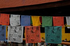 Algunas banderas de la expo Foto de archivo