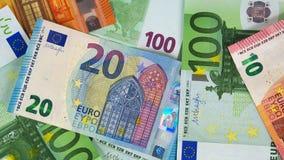 Algunas diversas notas en euros fotografía de archivo libre de regalías