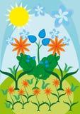 Algunas flores contra el cielo y los verdes Ilustración del Vector