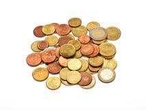 Algunas monedas de los euros Imagen de archivo