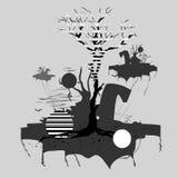 Algunas pequeñas islas, volando a través del cielo, en la isla central usted puede ver un árbol ilustración del vector