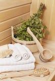 Algunos accesorios en los baños rusos Foto de archivo libre de regalías
