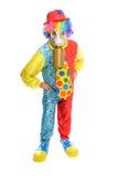 Algunos clownwearing una careta antigás Fotografía de archivo