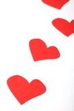 Algunos corazones en el Libro Blanco Imagen de archivo libre de regalías