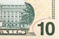Algunos elementos en U S eneldo de 10 dólares Imágenes de archivo libres de regalías