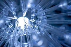 Algunos llevaron ciencia de las lámparas y el fondo ligeros azules de la tecnología Imagen de archivo libre de regalías