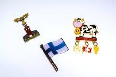 Algunos metal los imanes en el refrigerador fotografía de archivo libre de regalías