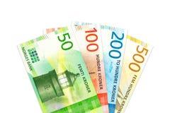 Algunos nuevos billetes de banco de la corona noruega con el espacio de la copia imagenes de archivo