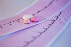 Alguns comprimidos coloridos em tiras do eletrocardiograma com pulsação do coração foto de stock royalty free