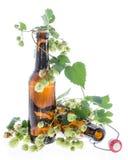 Alguns frascos da cerveja com os lúpulos no branco Imagens de Stock