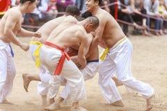 Alguns homens novos jogam com a bola de madeira no ano novo lunar do festival em Hanoi, Vietname o 27 de janeiro de 2016 Imagens de Stock