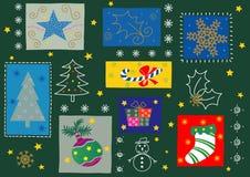 Alguns ornamento do Natal ilustração do vetor