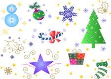 Alguns ornamento do Natal Ilustração Stock