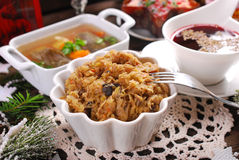Alguns pratos para a ceia polonesa tradicional da Noite de Natal Foto de Stock