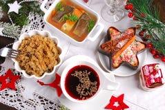 Alguns pratos para a ceia polonesa tradicional da Noite de Natal Fotografia de Stock