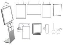 Alguns projetos de anúncio em um fundo branco Fotos de Stock Royalty Free