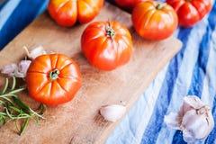 Alguns tomates e alho vermelhos foto de stock