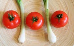 Alguns tomates e cebola frescos da mola imagens de stock royalty free