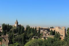alhambra Γρανάδα όψη της Ισπανίας πανοράματος παλατιών Στοκ φωτογραφίες με δικαίωμα ελεύθερης χρήσης