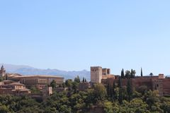alhambra Γρανάδα όψη της Ισπανίας πανοράματος παλατιών Στοκ εικόνες με δικαίωμα ελεύθερης χρήσης