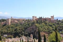 alhambra Γρανάδα όψη της Ισπανίας πανοράματος παλατιών Στοκ Φωτογραφία