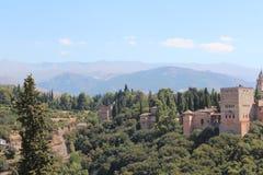 alhambra Γρανάδα όψη της Ισπανίας πανοράματος παλατιών Στοκ φωτογραφία με δικαίωμα ελεύθερης χρήσης