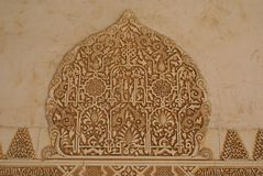 Alhambra επιγραφές & γλυπτικές τοίχων στη Γρανάδα, Ανδαλουσία, Ισπανία, Ευρώπη Στοκ Εικόνες