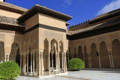 Alhambra παλάτι, δικαστήριο των λιονταριών, Ευρώπη Στοκ Εικόνες