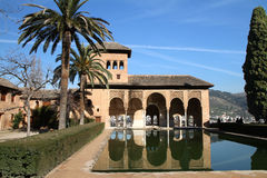 Alhambra. Building with pond at the Alhambra stock image