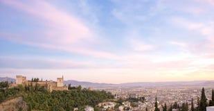 Alhambra al crepuscolo Fotografia Stock Libera da Diritti