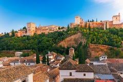 Alhambra al tramonto a Granada, Andalusia, Spagna Immagine Stock Libera da Diritti