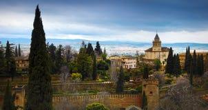 Alhambra - ancient arabic fortress , Granada, Andalusia, Spain. Spain, Andalusia / Granada - March 17, 2018: Alhambra - ancient arabic fortress and royalty free stock photos