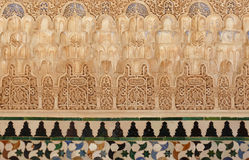 alhambra arabic decorative reliefs tiles 图库摄影