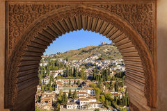 Alhambra Arch Granada Cityscape Andalusia Spain. Alhambra Castle Arch Intricade Moorish Designs Cityscape Granada Andalusia Spain Stock Photos