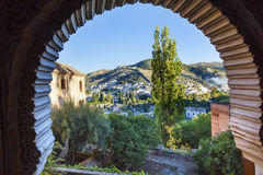 Alhambra Arch Granada Cityscape Churches Andalusia Spain royalty free stock photos