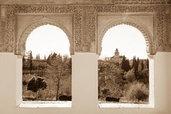 Alhambra arches in sepia Stock Photos
