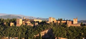 Alhambra au coucher du soleil Images libres de droits