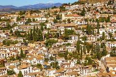 Alhambra Biali budynki Albaicin Carrera Del Darron Granada Hiszpania Obraz Stock